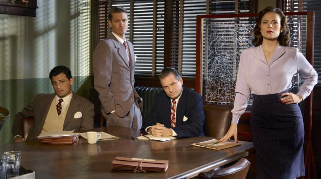 Enver Gjokaj, Chad Michael Murray, Shea Wingham & Hayley Atwell in Marvel's 'Agent Carter'