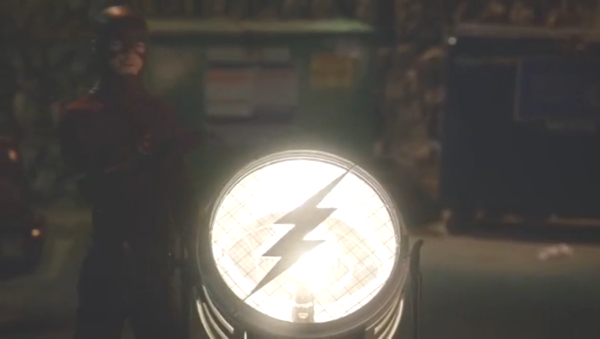 Another fun little moment with their Flash-signal to lure the villain